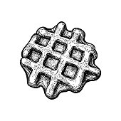 Ink sketch of waffle isolated on white background. Hand drawn vector illustration. Retro style.