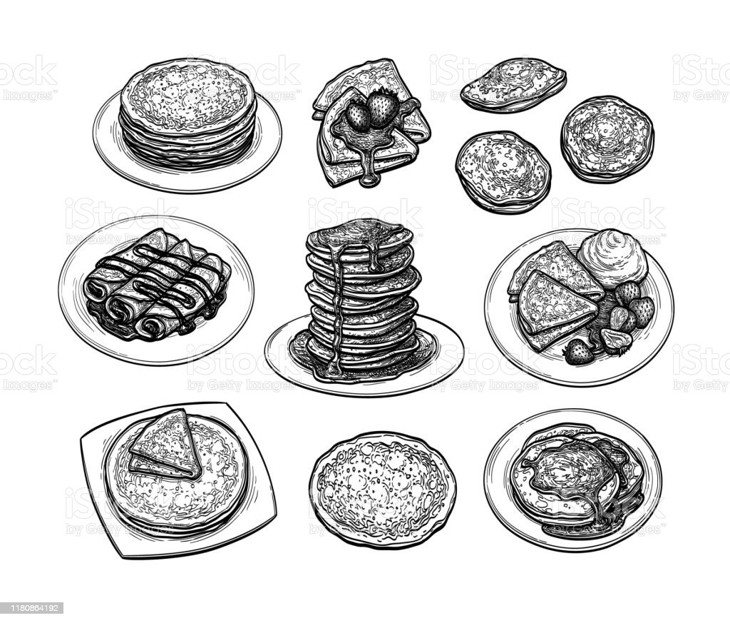 クレープのインクスケッチセット - イチゴのロイヤリティフリーベクトルアート