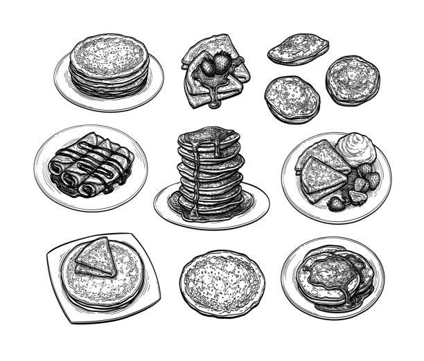 クレープのインクスケッチセット - パンケーキ点のイラスト素材/クリップアート素材/マンガ素材/アイコン素材