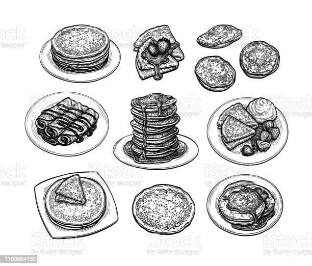 クレープのインクスケッチセット - イチゴのベクターアート素材や画像を多数ご用意