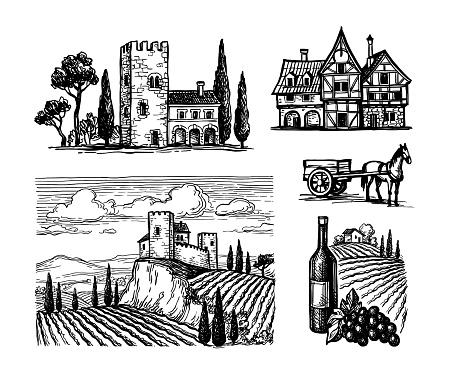 Ink sketches of rural views.