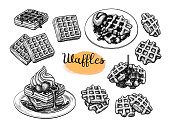 Set of ink sketches. Waffles with syrup and ice cream. Hand drawn vector illustration isolated on white background. Retro style big collection.