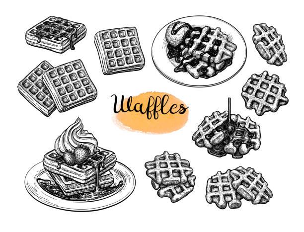 stockillustraties, clipart, cartoons en iconen met inkt schetsen van wafels. - siroop