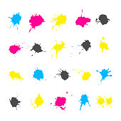 CMYK ink splashes elements collections