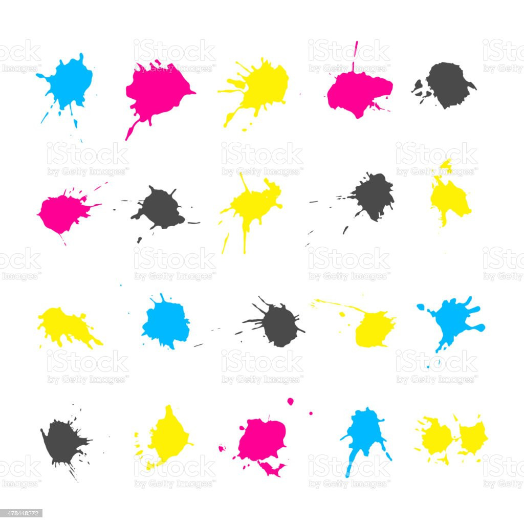 CMYK ink splashes elements collections vector art illustration