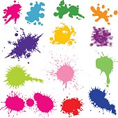 ink splats in different colors. layered. alternative files in zip: eps8, aics2, ai10, 300 dpi jpeg (4167x4167)