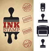 Ink stamper silhouettes. EPS 10 file. Transparency effects used on highlight elements.