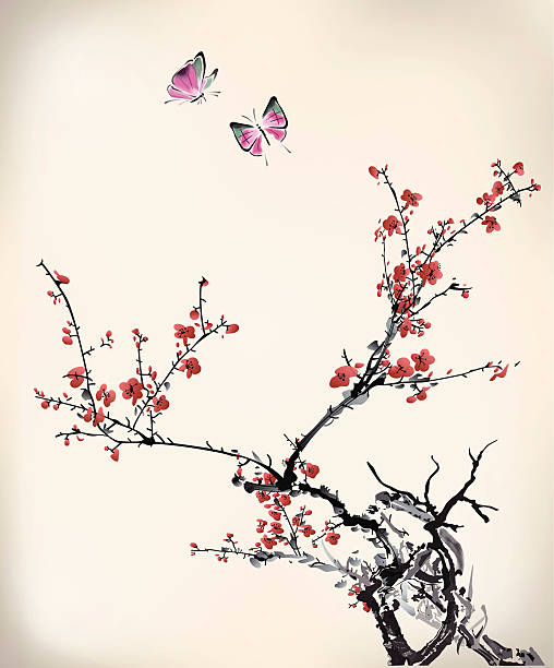 ink style butterfly and winter sweet ink style butterfly and winter sweet, eps10 file plum blossom stock illustrations