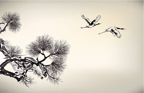 ink style pine tree and crane - crane bird stock illustrations
