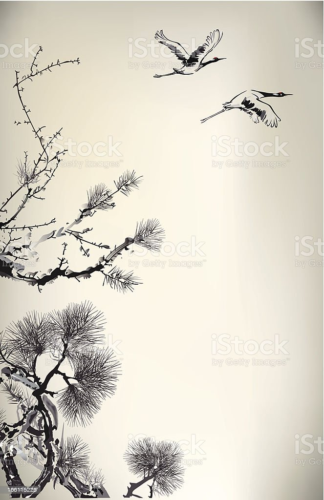 Ink style Pine Tree and crane royalty-free stock vector art