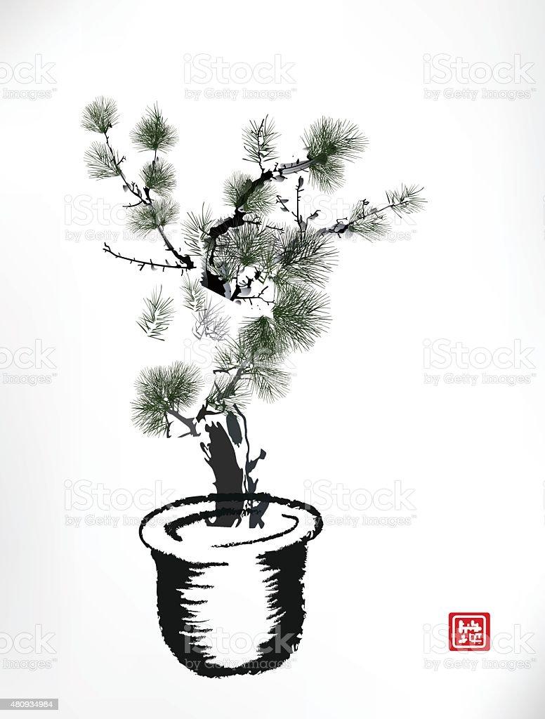 Ink style Pine Tree in pot vector art illustration