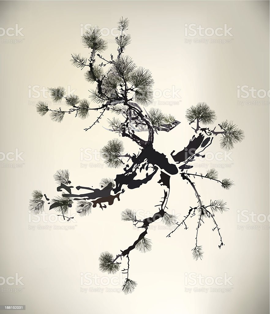 Ink style Pine Tree vector art illustration