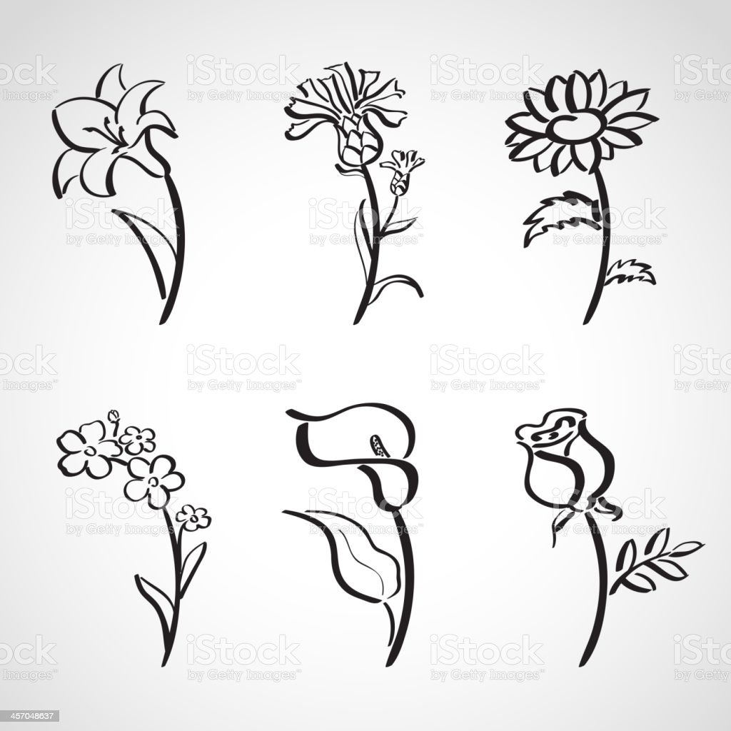 Ink style  sketch set - summer flowers vector art illustration