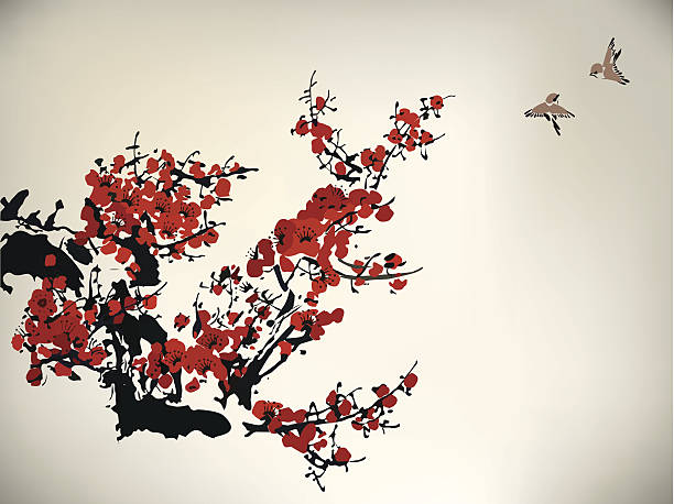 ink style winter sweet chinese ink paint of wintersweet plum blossom stock illustrations
