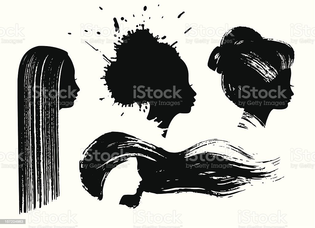 Ink woman profiles vector art illustration