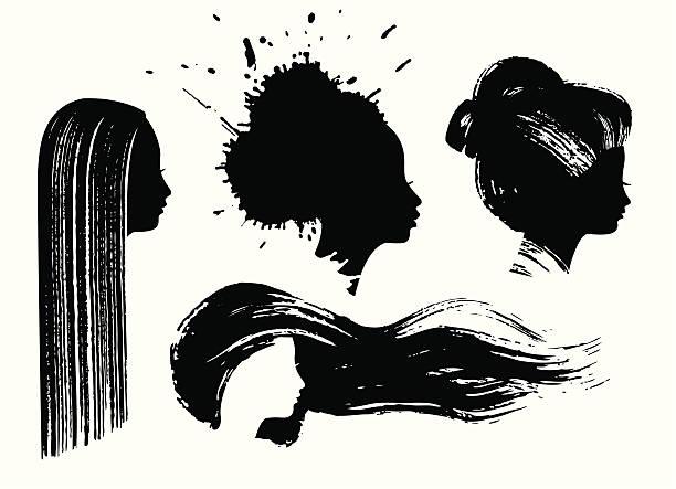 stockillustraties, clipart, cartoons en iconen met ink woman profiles - hair woman