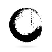 Ink zen circle emblem. Hand drawn abstract decoration element.