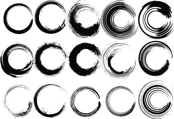 Inked circle Pinsel set – Vektorgrafik