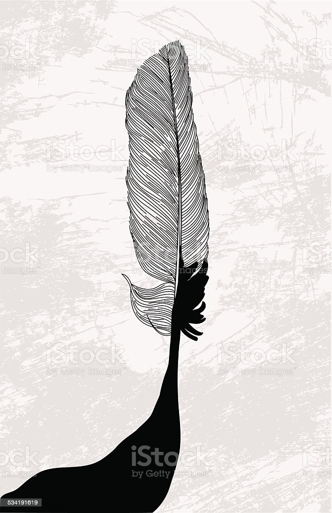Inked Feather vector art illustration
