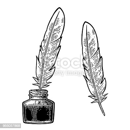 Inkwell, with feather isolated on white background. Vector black vintage engraving illustration. Hand drawn in a graphic style.