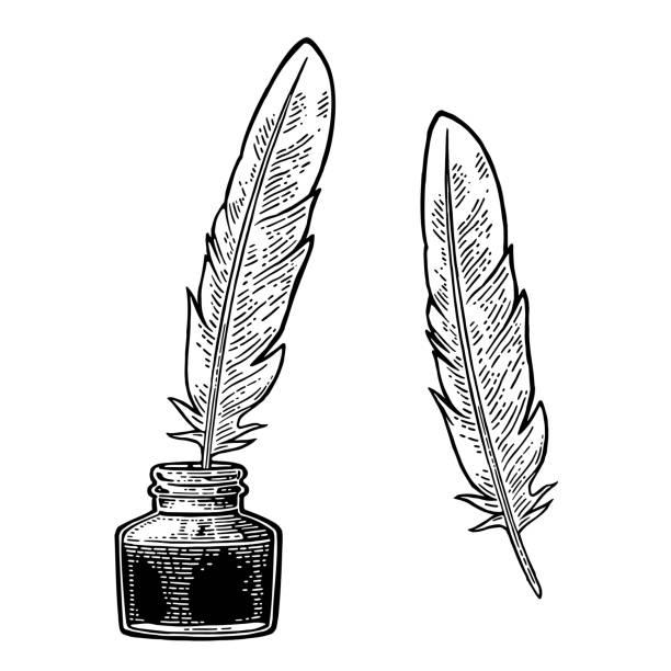 ilustrações de stock, clip art, desenhos animados e ícones de inkwell, with feather isolated on white background. engraving - tinteiro