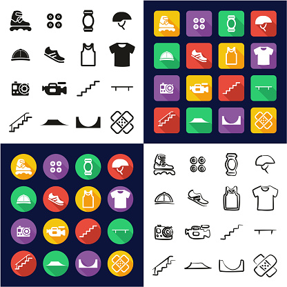 Inline All in One Icons Black & White Color Flat Design Freehand Set