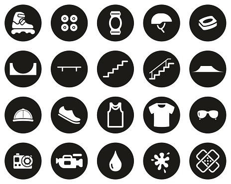 Inline Extreme Sport & Equipment Icons White On Black Flat Design Circle Set Big