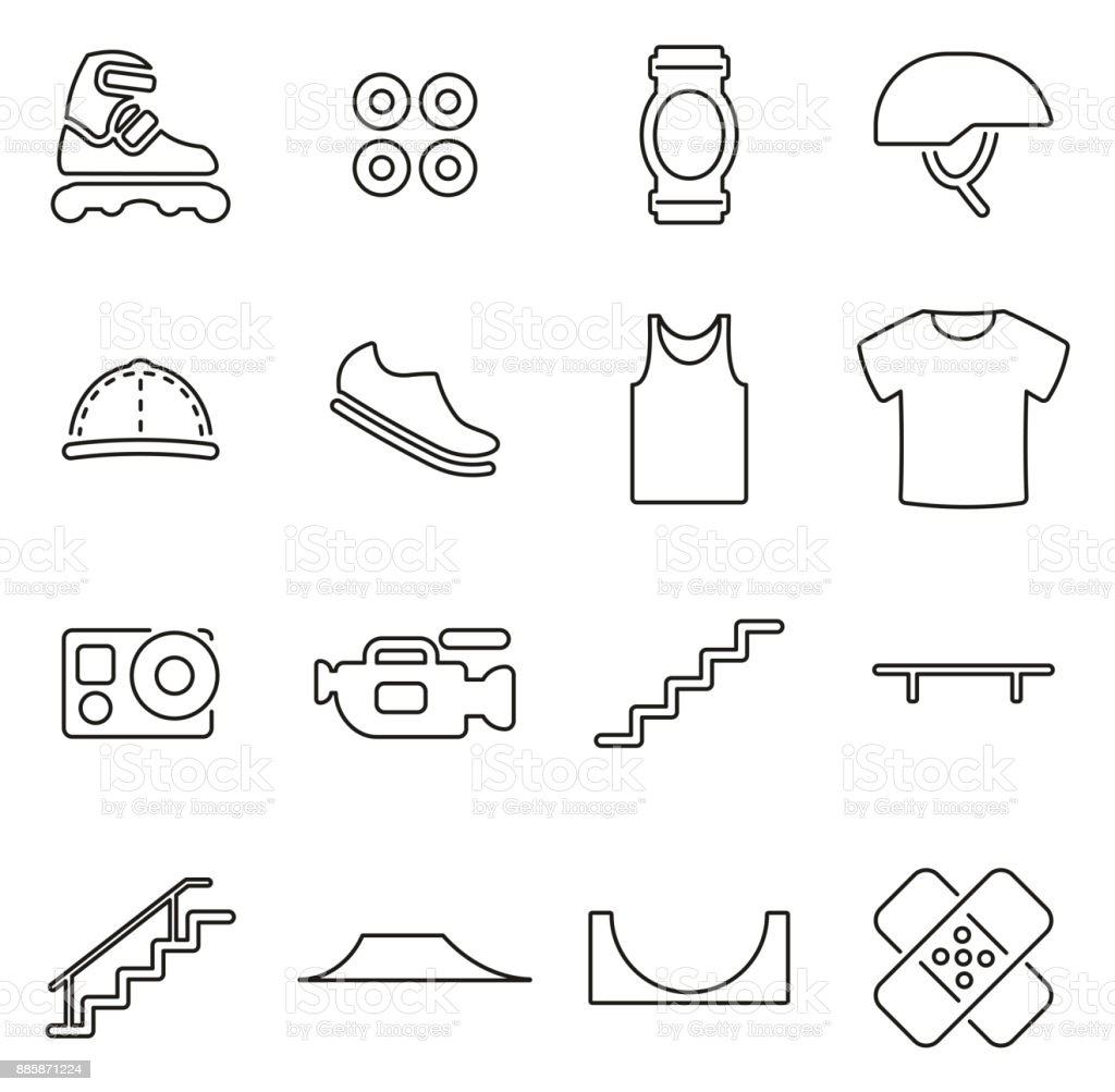 Inline Extreme Sport Icons Thin Line Vector Illustration Set vector art illustration