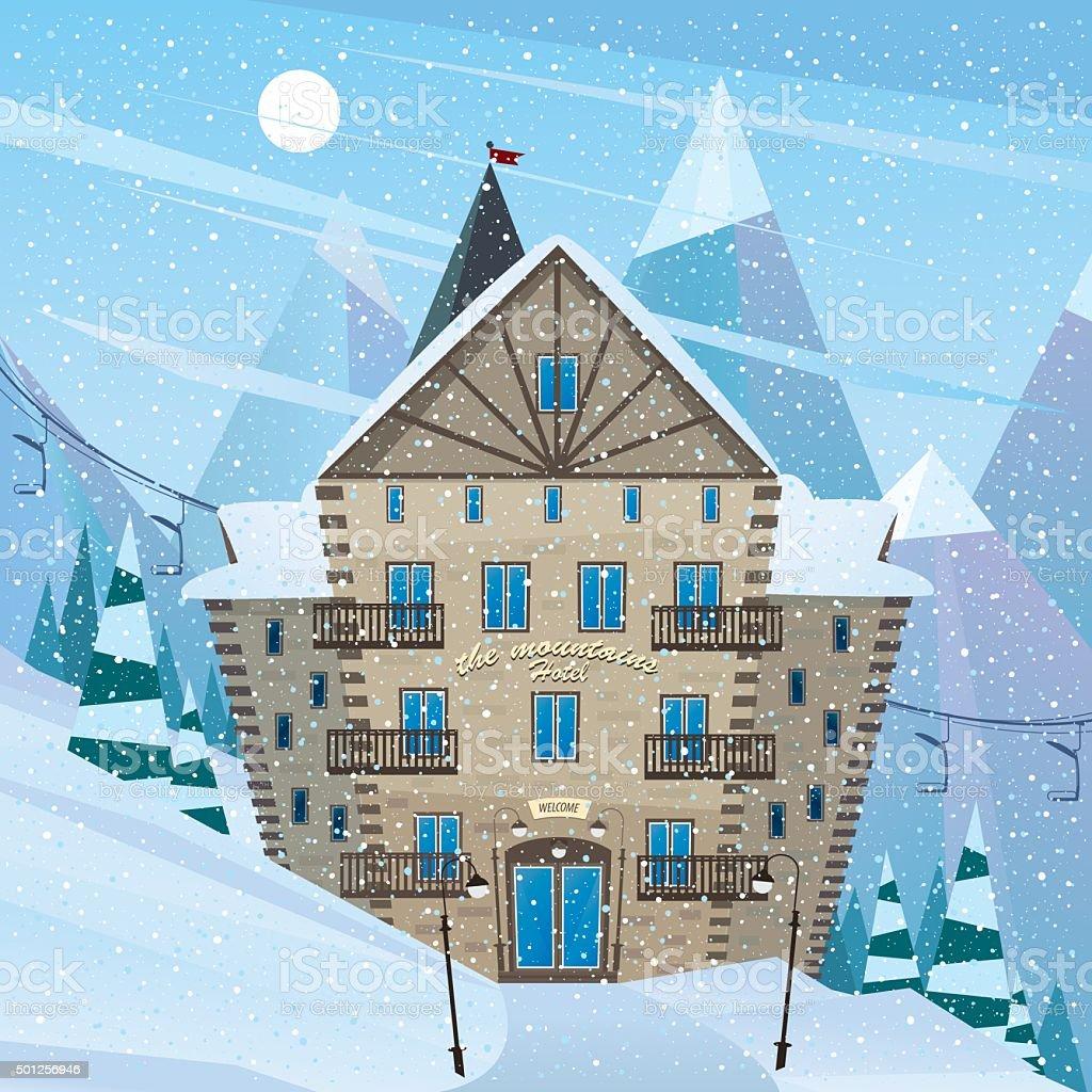 Inn on snow slope vector art illustration