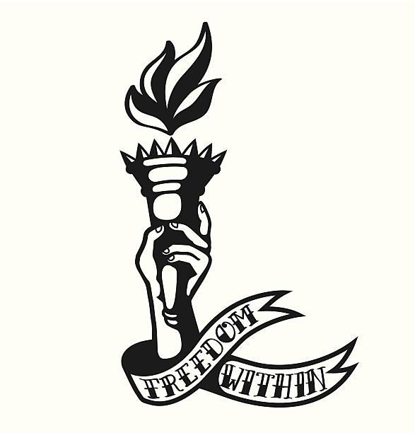 内部の自由。 タトゥーデザインのたいまつを持つ手 - 炎のタトゥー点のイラスト素材/クリップアート素材/マンガ素材/アイコン素材