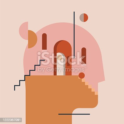 Inner world. Thinking process. Open mind. Humans head silhouette with modern minimal architecture and abstract geometric shapes inside. Psychologic psychotherapy concept. Vector eps 10 illustration