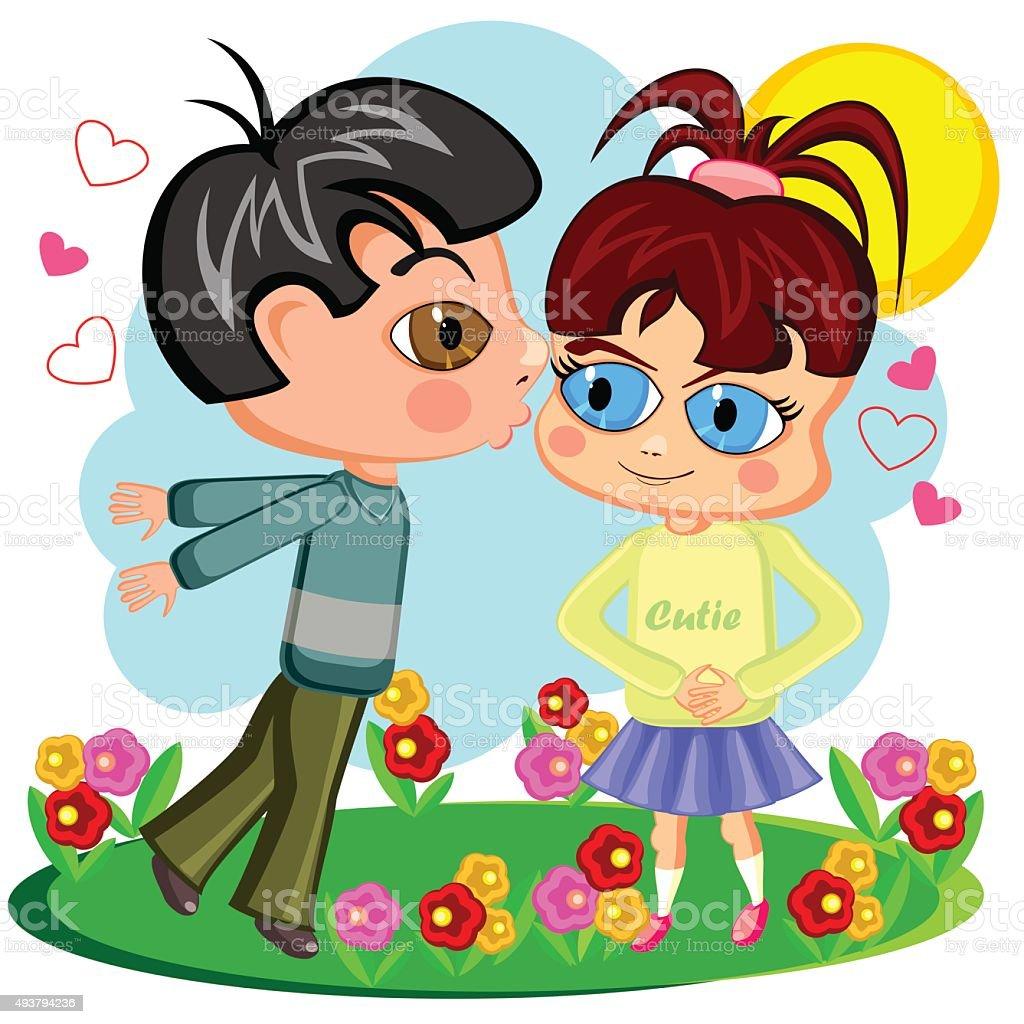 Innocent kiss vector art illustration