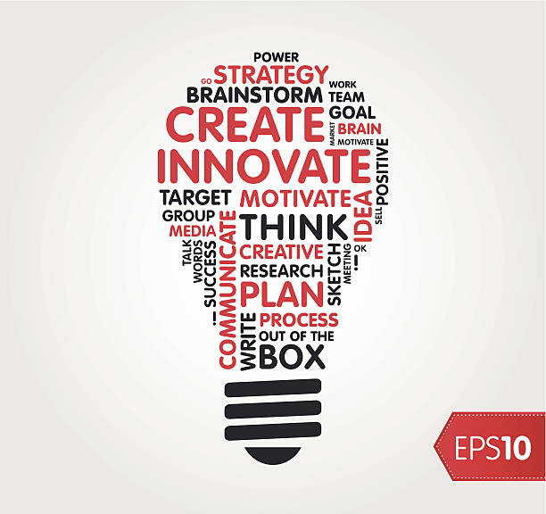 Innovate word shape / cloud Word cloud in the shape of a lightbulb. single word stock illustrations