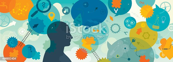 Horizontal vector illustration showing inventor/scientist and his mind processes. We can see the inventor silhouette surrounded with different elements which are showing different processes and approaches while solving a problem. We can see magnifying glass a metaphor/symbol for identification/closer look on a problem; puzzles for looking the right parts; light bulb for idea; ladders for improvement; gears and wheels for thinking; speech bubbles for different thoughts/ideas; arrows for direction of thinking; question marks for questioning and self verification; connectors for integration. There are also lot of icons related with science: DNA, microscope, laboratory equipment, molecular structure, cells, bacteria,  ect. Illustration is vibrant and eye catching and also nicely layered.