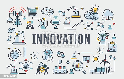 Innovation banner web icon for business, brain, research, creative, light bulb, Development and science technology.  simple thin line infographic.