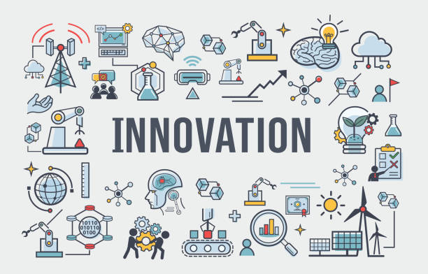 illustrazioni stock, clip art, cartoni animati e icone di tendenza di innovation banner web icon for business, brain, research, creative, light bulb, development and science technology.  simple thin line infographic. - innovation