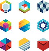 Innovation building future real estate virtual game cube logo icons.