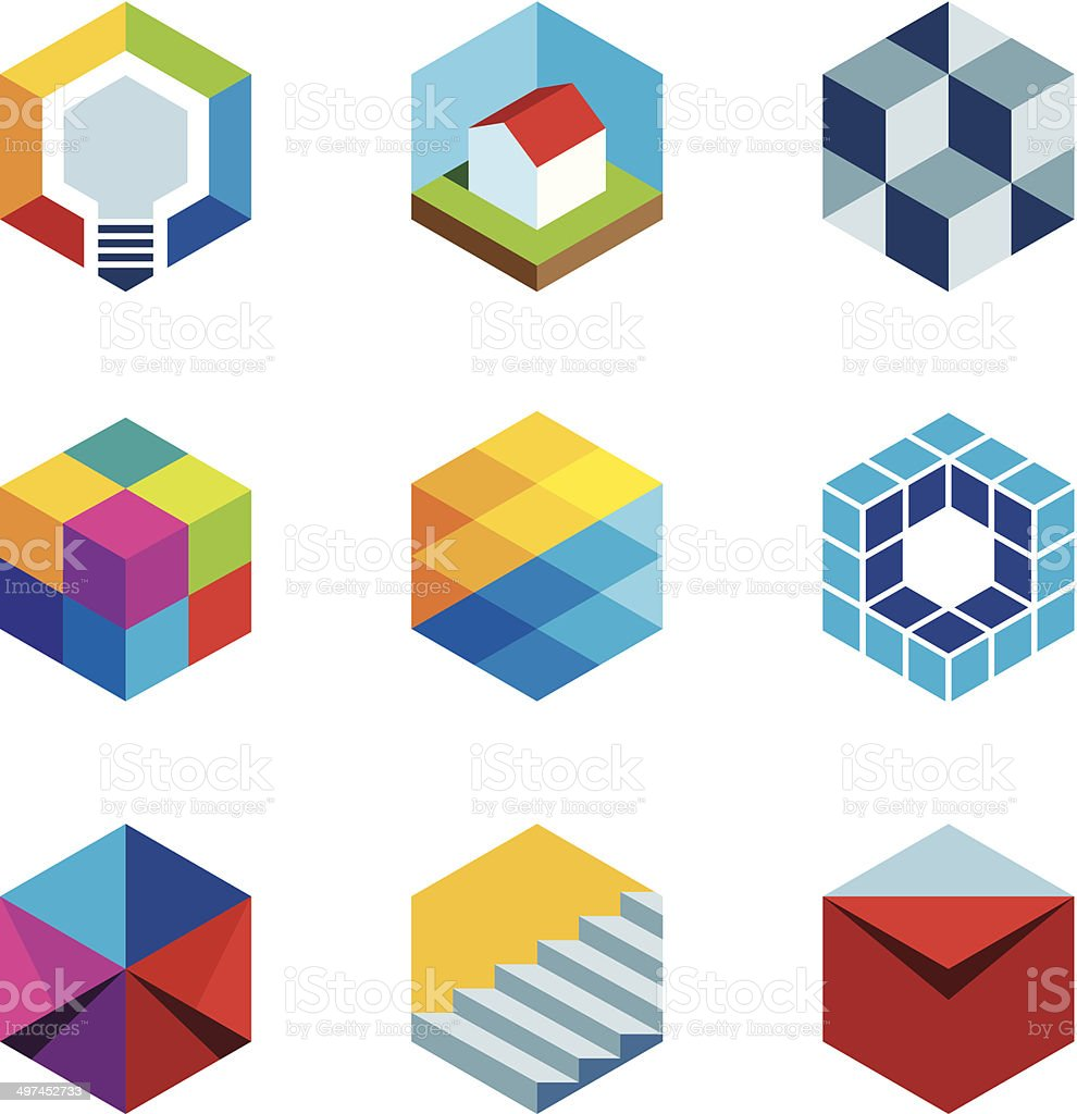 Innovation building future real estate virtual game cube logo icons vector art illustration