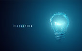 Innovation concept. Lightbulb in modern polygonal style with light effect
