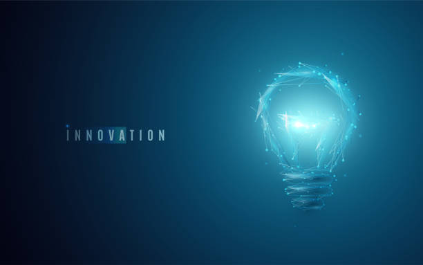 innovation concept. lightbulb in modern polygonal style with light effect - digitally generated image stock illustrations, clip art, cartoons, & icons