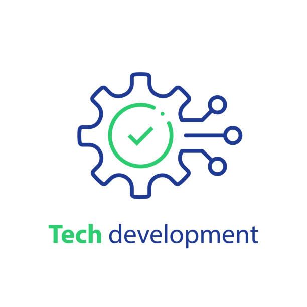 illustrazioni stock, clip art, cartoni animati e icone di tendenza di innovation concept, technology development, system integration, software business, technical support, smart solution - ordine