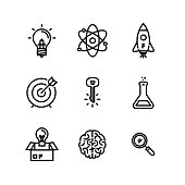Innovation Concept, Think Outside The Box Icon Set