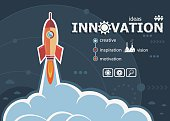Innovation design and concept background with rocket.