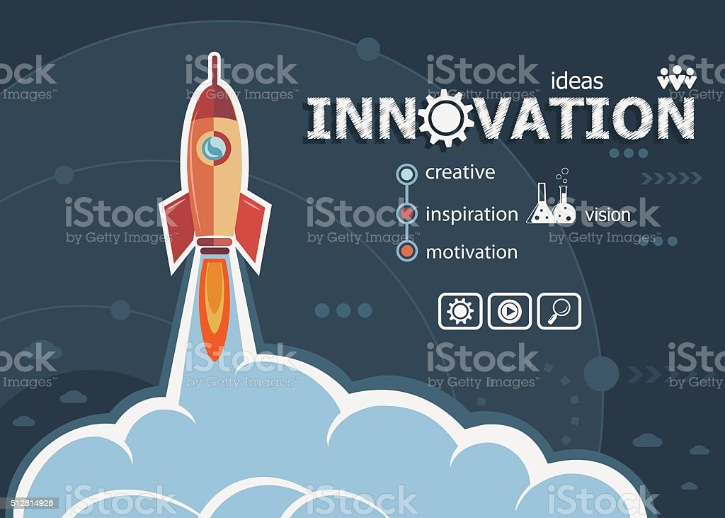 Innovation design and concept background with rocket. vector art illustration