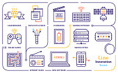 Line icon set vector illustrations of innovation, digital entrepreneurship,