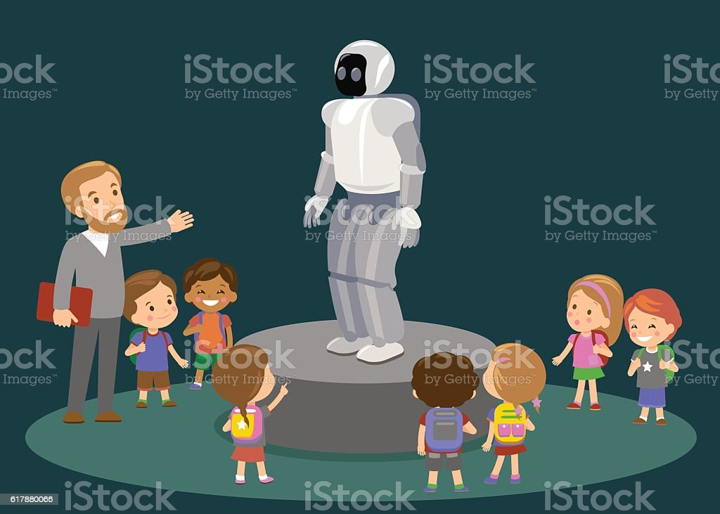 Innovation education elementary school learning technology and people concept - vector art illustration