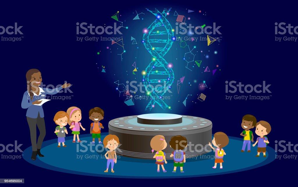 Inovação educação ensino aprendizagem tecnologia - grupo de crianças a molécula de DNA. Holograma em vetor de centro biologia lição futuro museu. - ilustração de arte em vetor