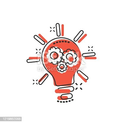 Innovation icon in comic style. Lightbulb with cogwheel cartoon vector illustration on white isolated background. Idea splash effect business concept.