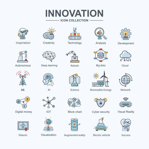 stockillustraties, clipart, cartoons en iconen met innovatie icon set voor futuristische technologie, elektrisch voertuig, kunstmatige intelligentie, robotic autonoom, 5g-netwerk, cloud, deep learning en machine learning. minimale kleur stijl. - blockchain