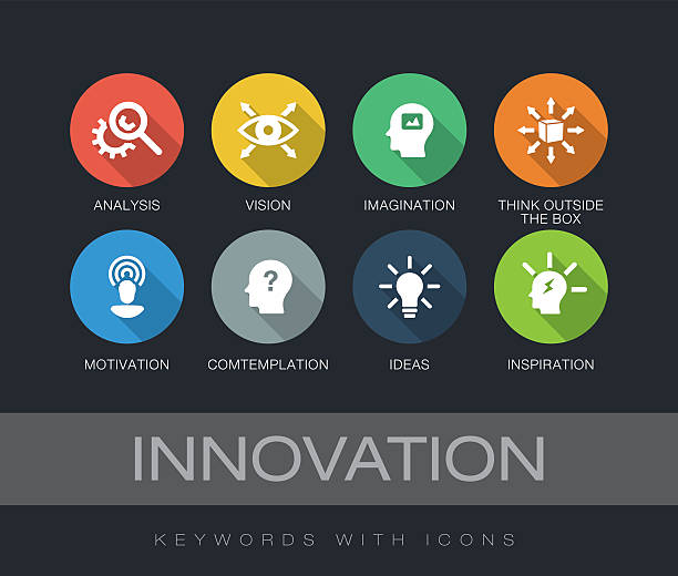 Innovation keywords with icons vector art illustration